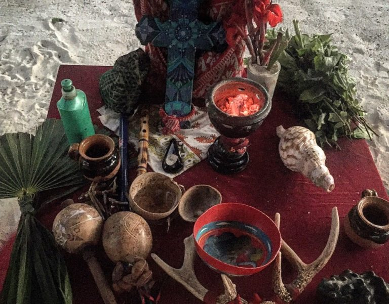 A ceremonial Mayan altar for a Temazcal in Tulum.